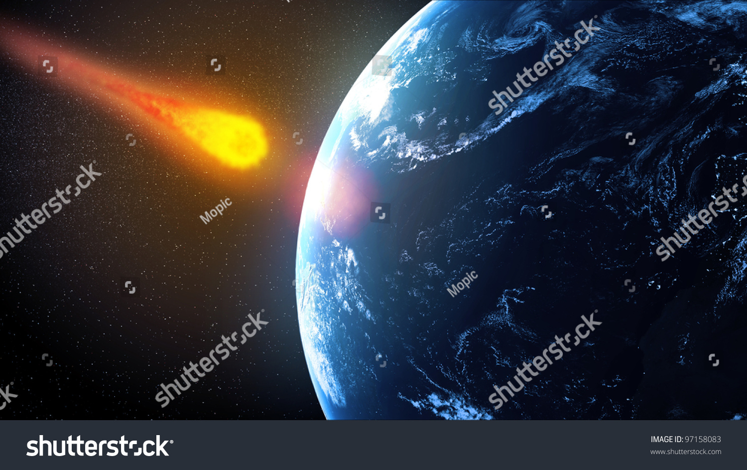 Asteroid Falling On Earth Illustration Stock Illustration ...