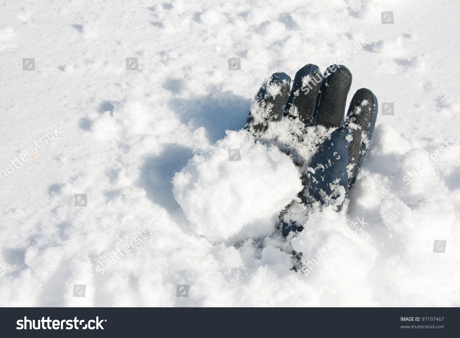 Glove Buried Snow After Avalanche Stock Photo 97197467