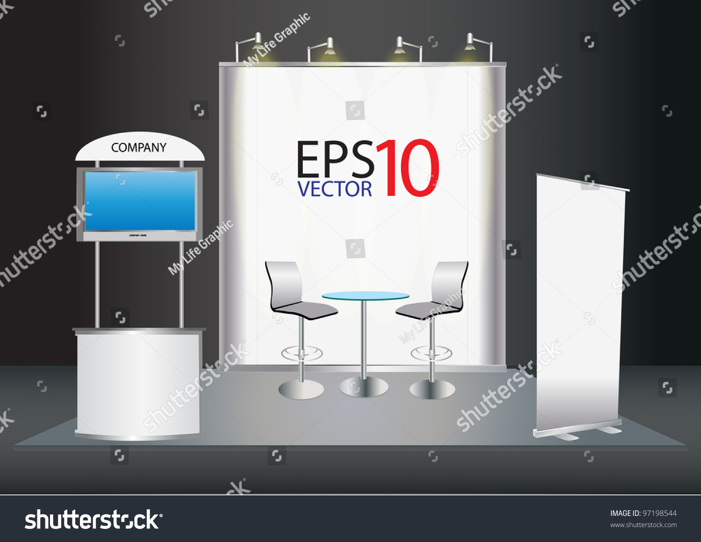 Trade Exhibition Stand Vector : Vector blank trade exhibition stand screen stock