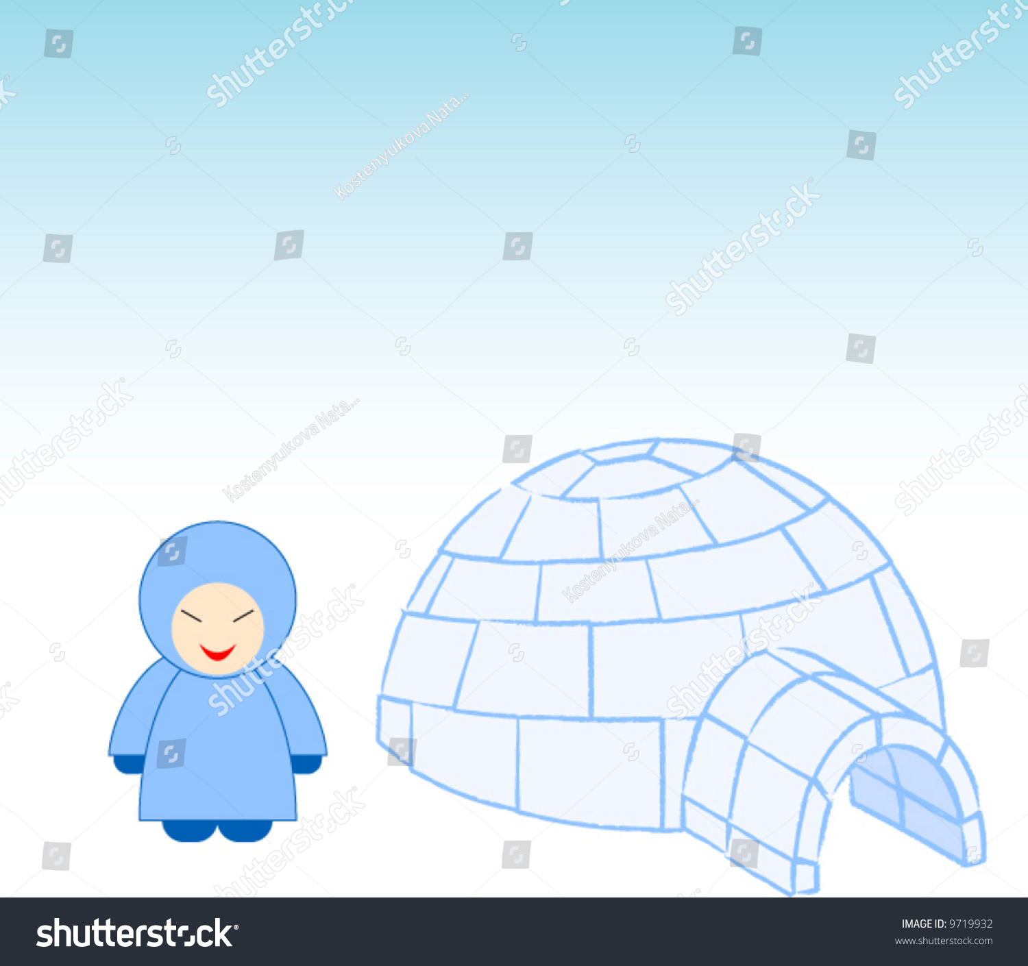 Igloo eskimo stock vector 9719932 shutterstock igloo with eskimo pooptronica