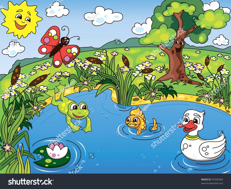 cartoon kids illustration pond life frog stock vector clipart frogs in a pond clipart frogs in a pond