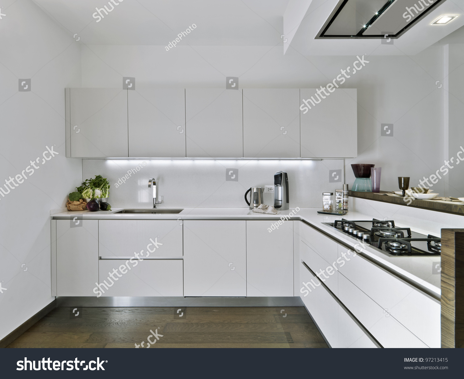 White Kitchens With Wood Floors Modern White Kitchen Wood Floor Stock Photo 97213415 Shutterstock
