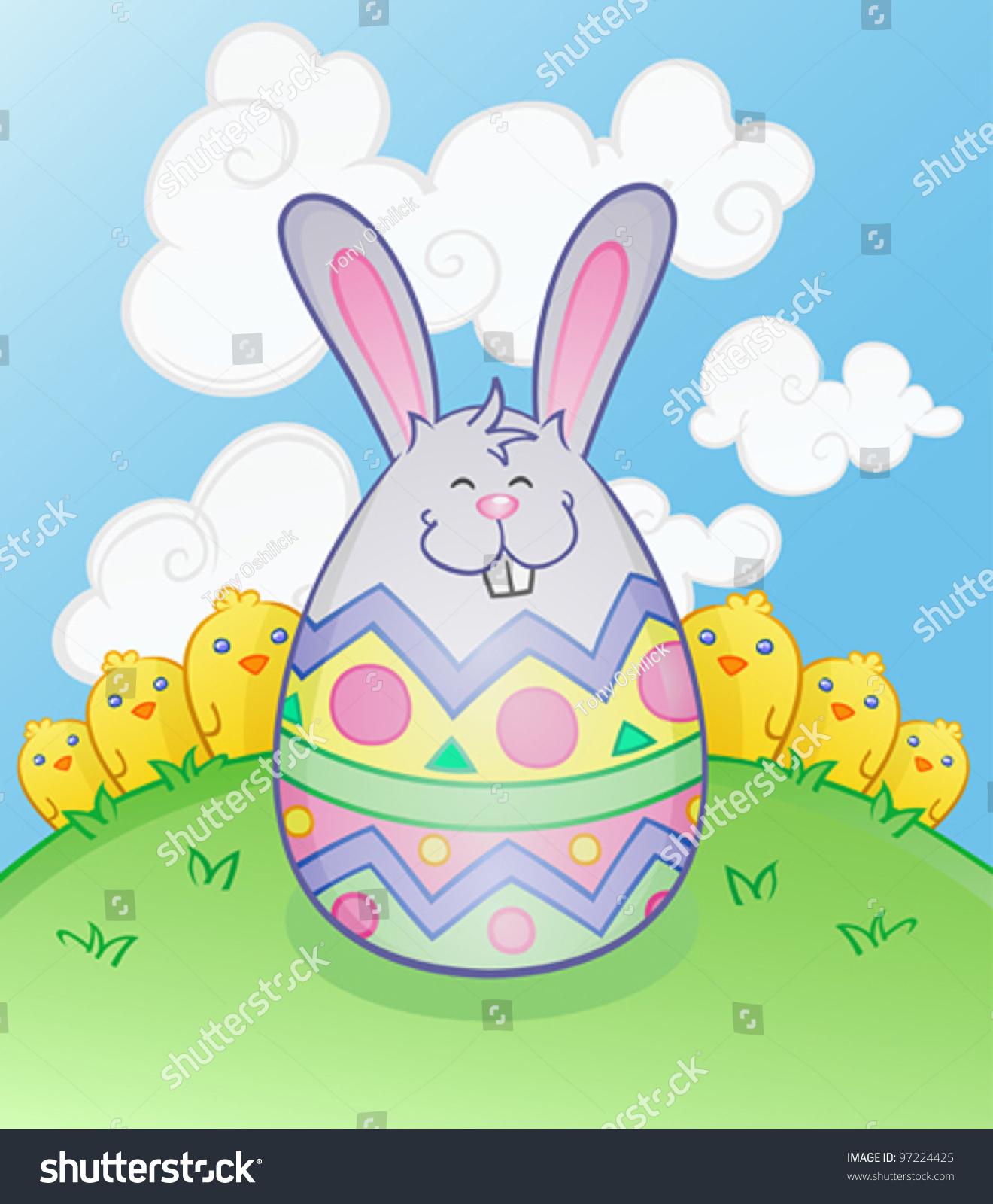 easter bunny egg cartoon character stock vector 97224425