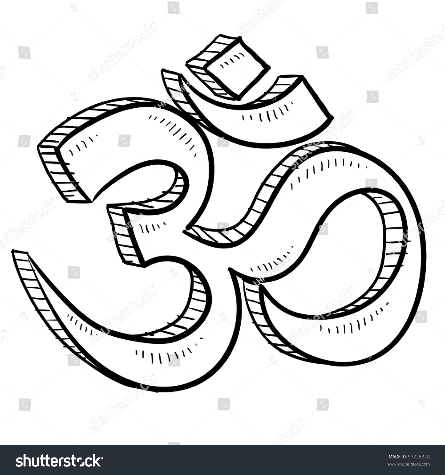 Doodle Style Hindu Om Yoga Symbol Stock Vector 97226324 - Shutterstock