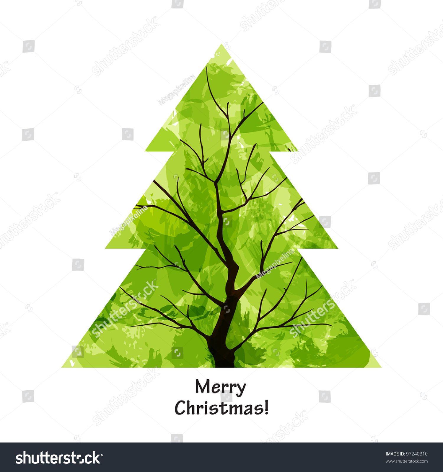 Color Christmas Tree On White Background Stock Vector (Royalty Free ...