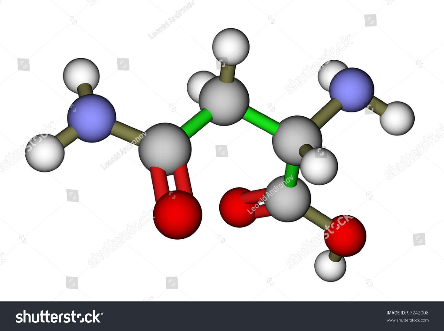 amino acid asparagine 3d molecular structure stock photo