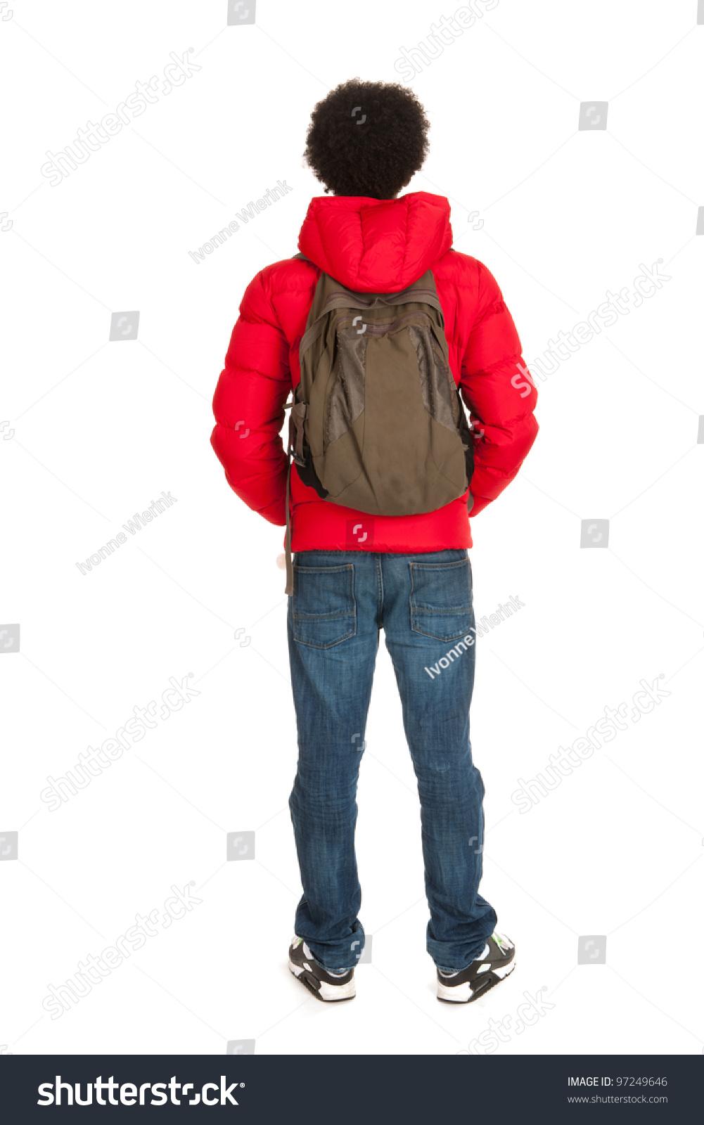 Black School Boy Red Coat Wit Stock Photo 97249646