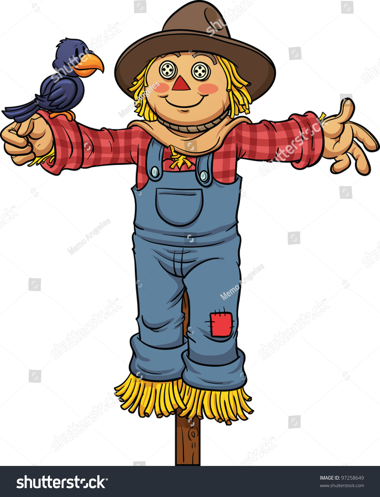 Cartoon scarecrow vector illustration with simple gradients all in a