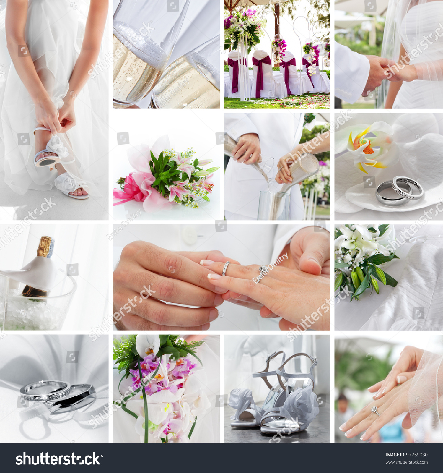 Wedding Theme Collage Composed Different Images Stock Photo (Royalty ...