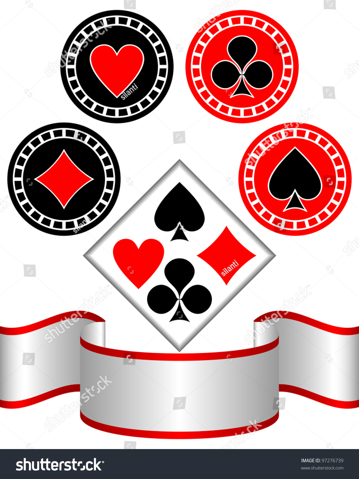 Isolated Symbols Playing Cards On White Stock Vector