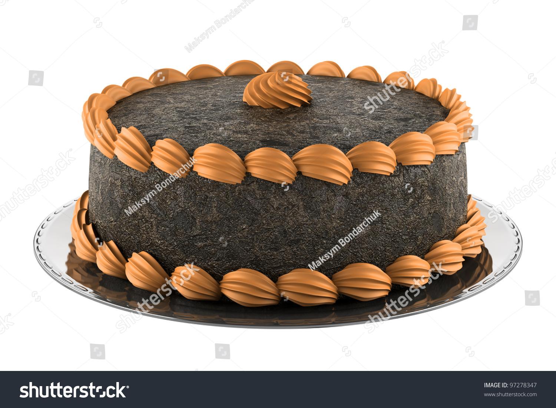 Images Of Round Chocolate Cake : Round Chocolate Cake With Orange Cream Isolated On White ...