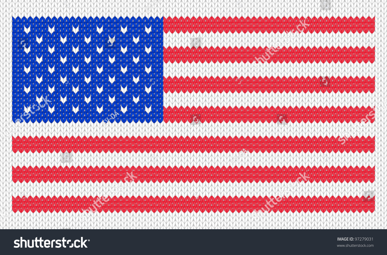 Knitting Pattern Us Flag : Knitted American Flag Pattern. Eps 8 Vector Illustration. - 97279031 : Shutte...