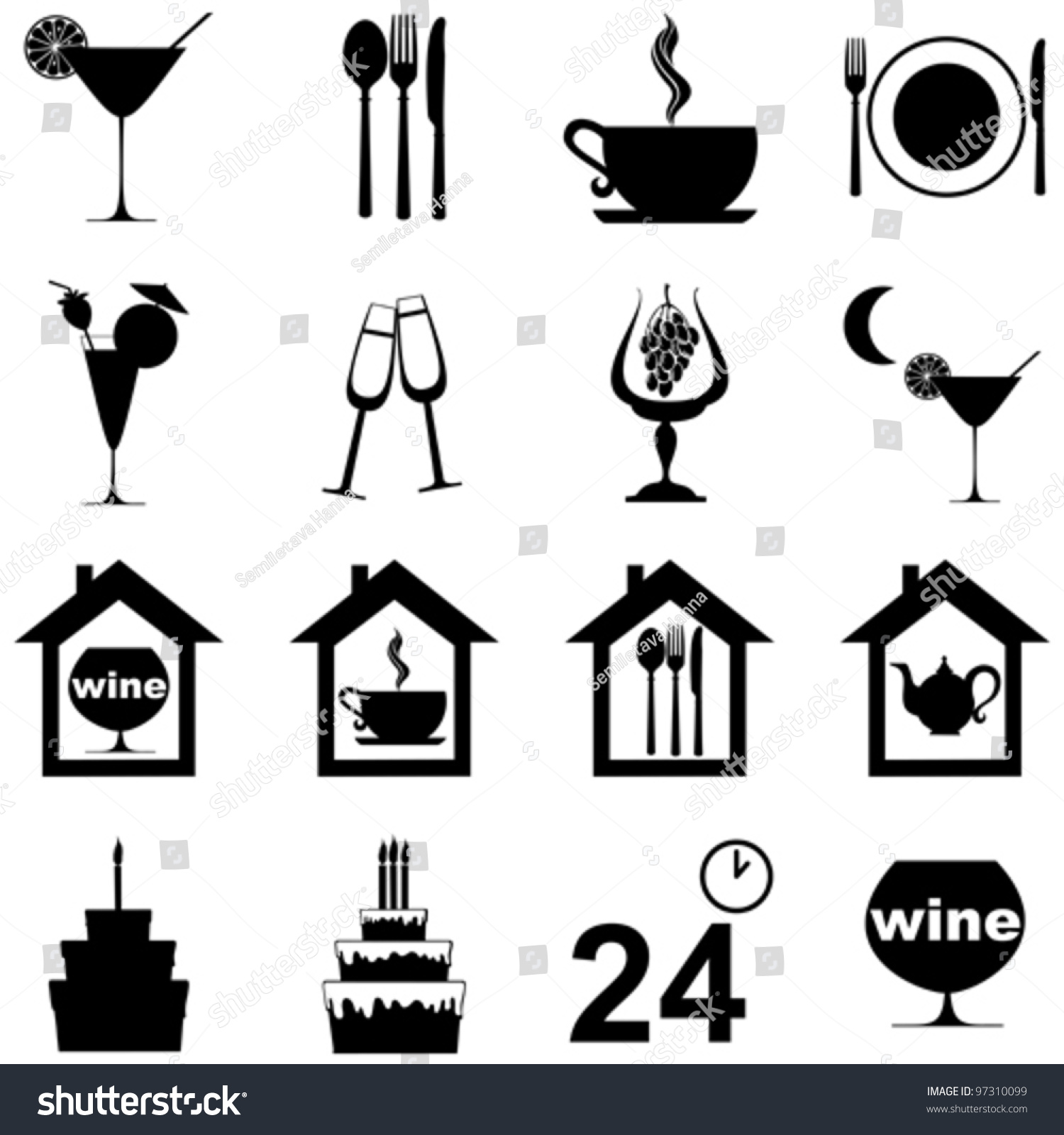 Icon set restaurant cafe bar isolated stock vector
