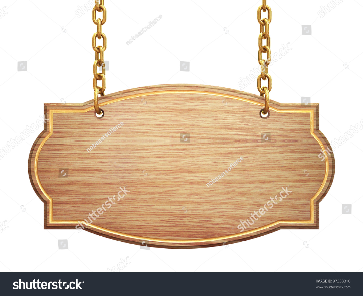blank wooden signboard hanging on brass chains isolated