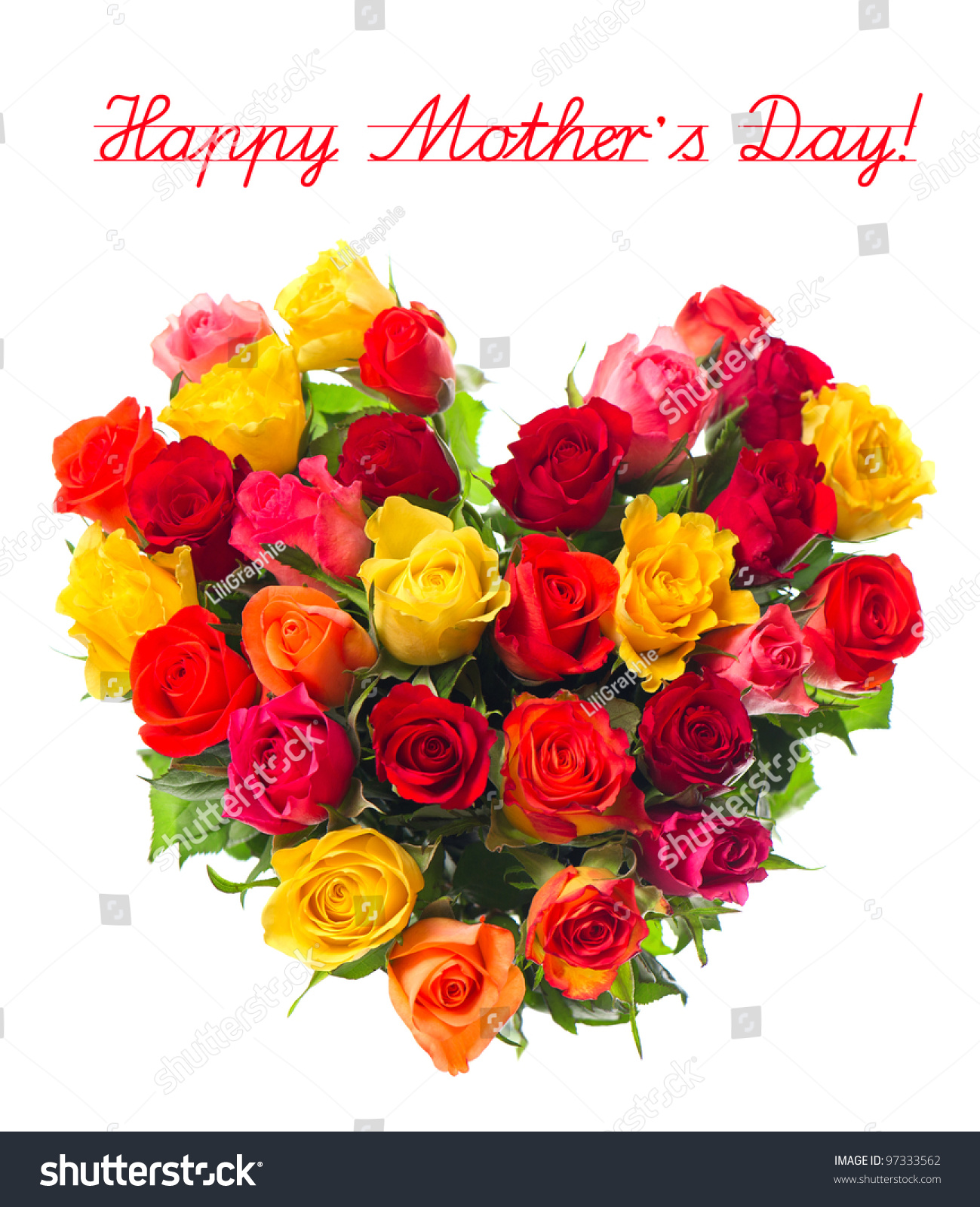 Happy Mothers Day Bouquet Colorful Assorted Stock Photo