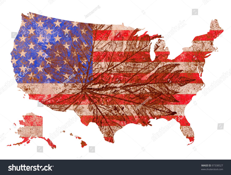 Grunge Old Pale Bevel Emboss United Stock Illustration - Old us map background