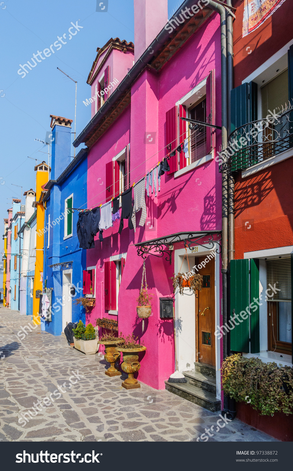 Panorama Colorful Houses Burano Italy Vertical Stock Photo (Edit Now ...