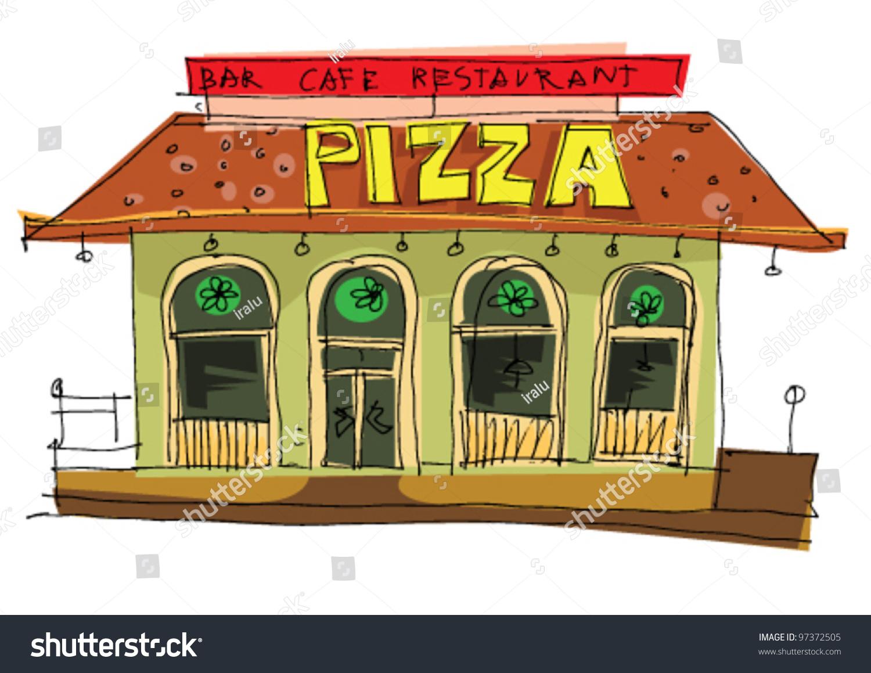 Italian Restaurant Logo With Flag: Pizzeria Cartoon Stock Vector 97372505