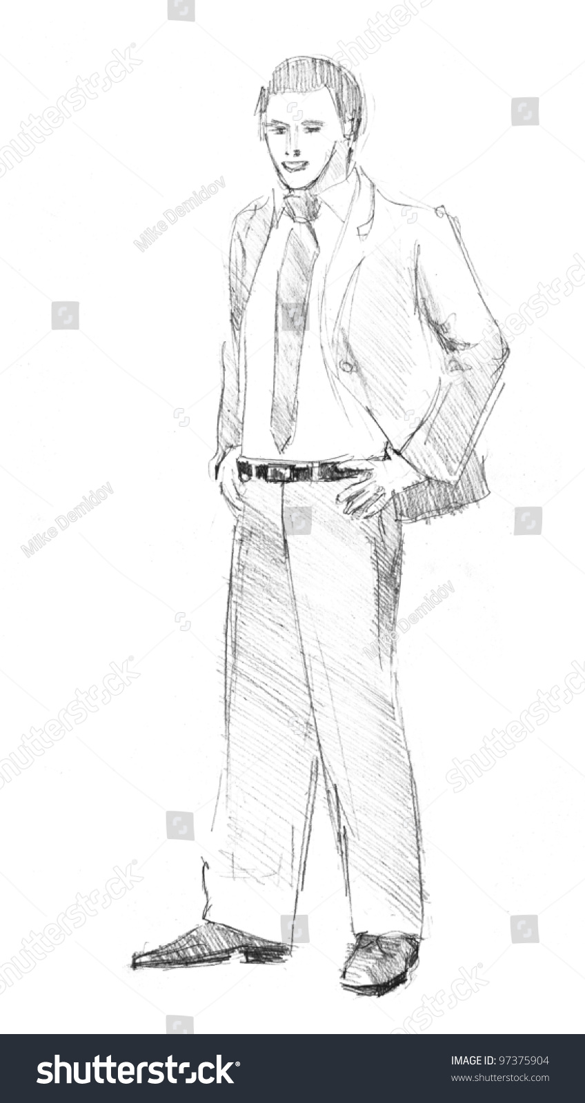 Pencil drawing of a young business man