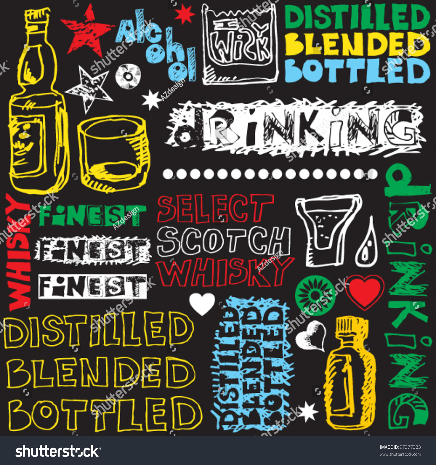 crazy scotch drinking doodles  hand drawn design elements stock vector illustration 97377323