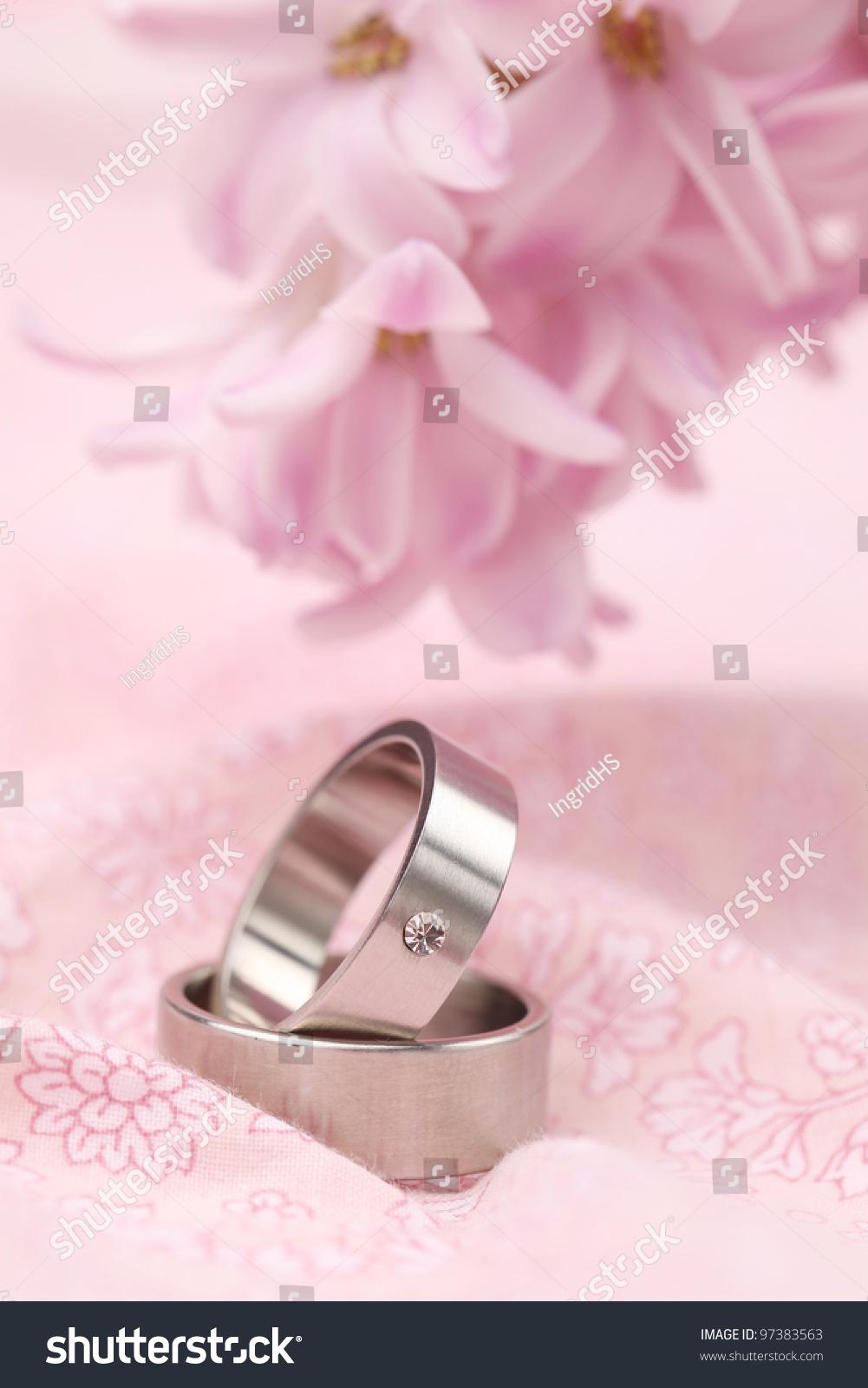 Titanium Wedding Rings On Pink Background Stock Photo (Edit Now ...