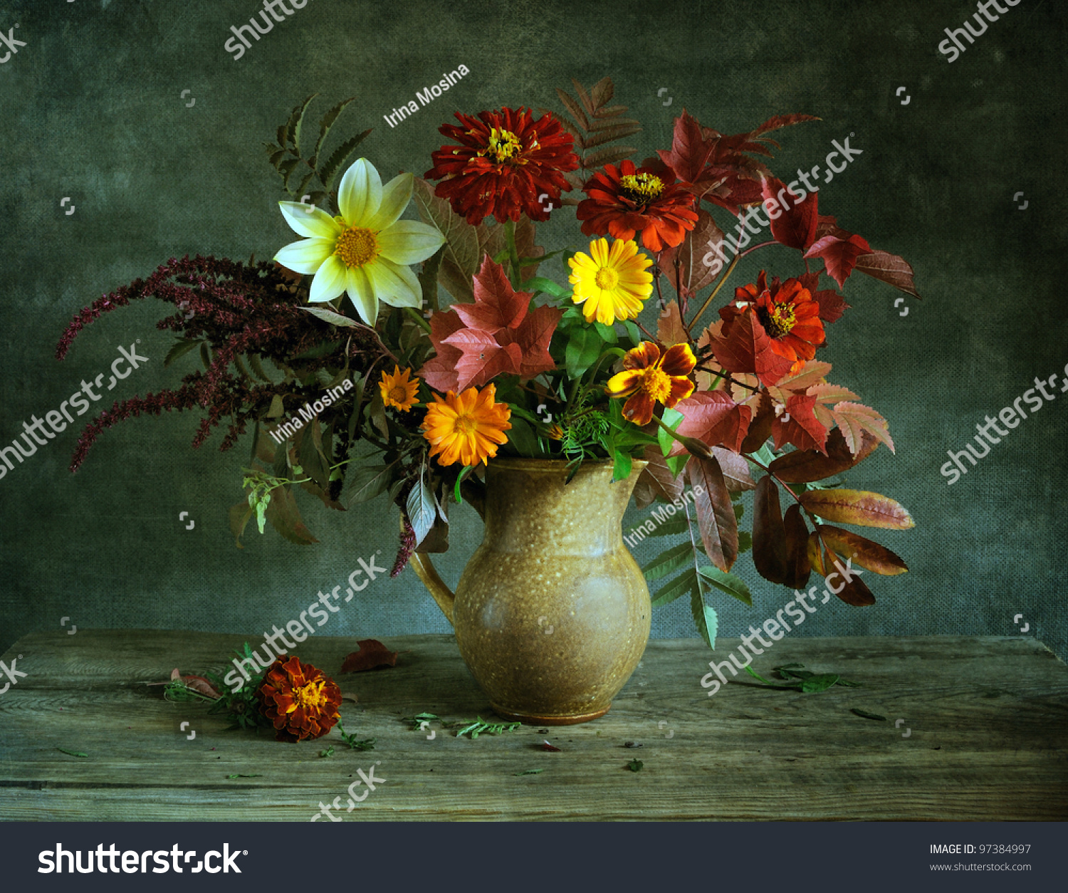 Still Life Beautiful Bunch Flowers Stock Photo 97384997