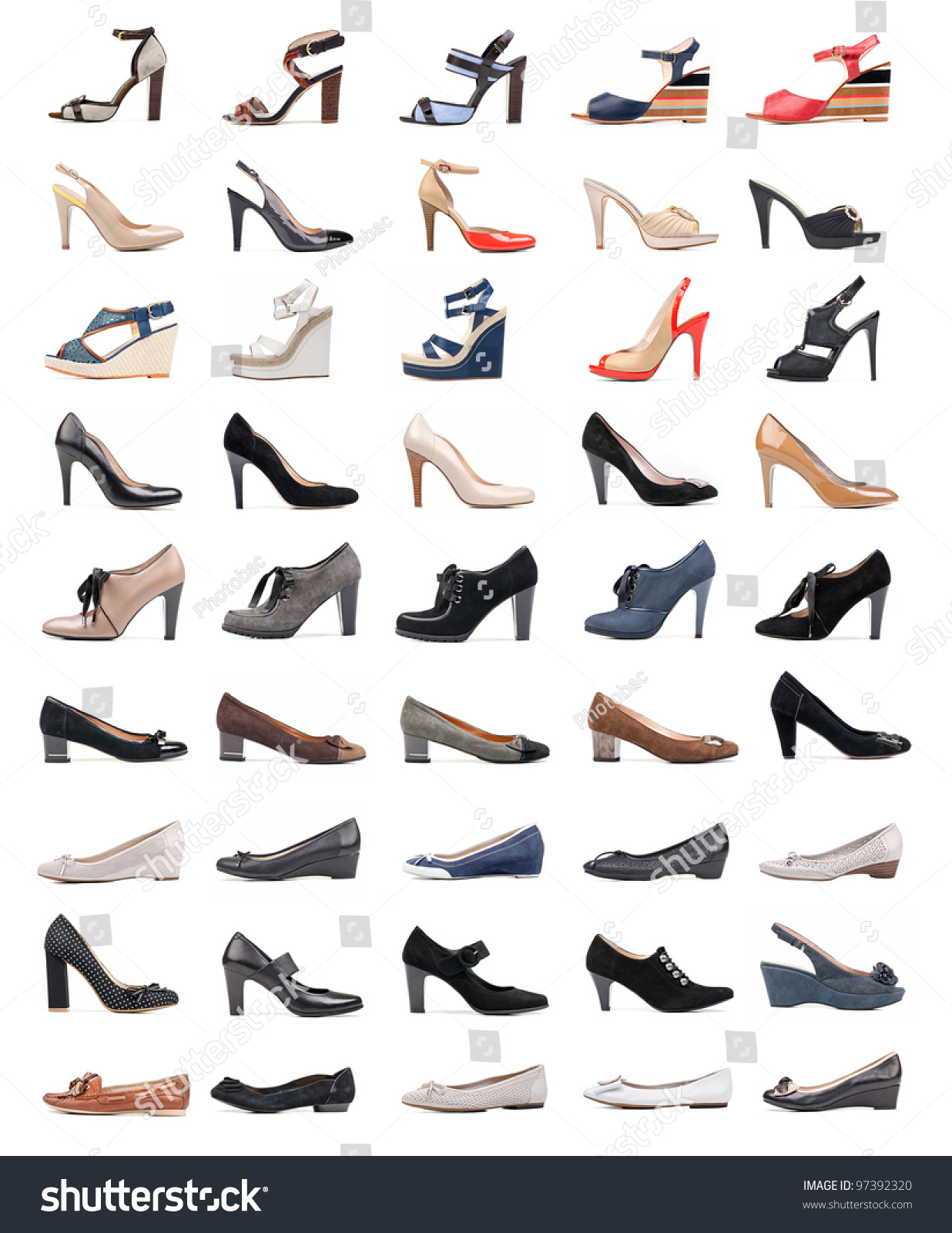 Collection Various Types Female Shoes Over Stock Photo ...