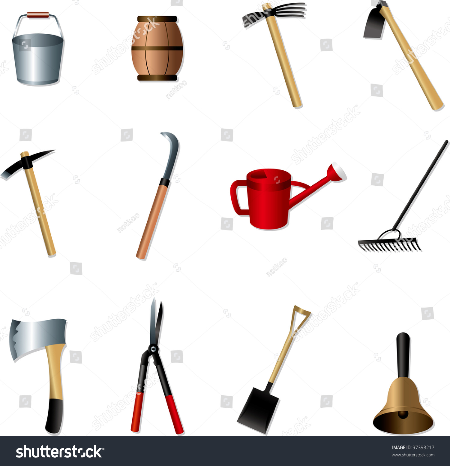 Set gardening tools stock vector 97393217 shutterstock for Gardening tools vector