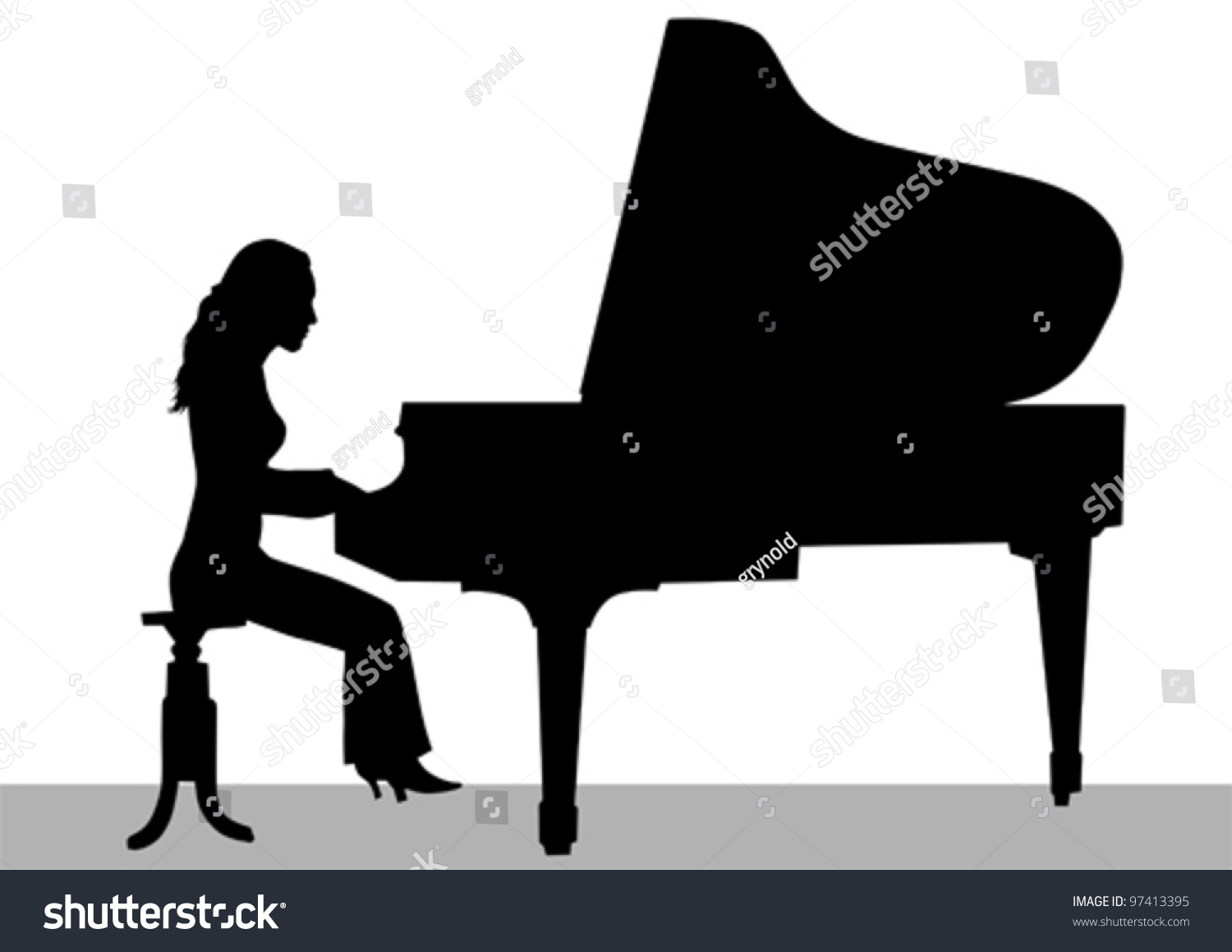 Vector Drawing Woman Playing Piano On Stock Vector