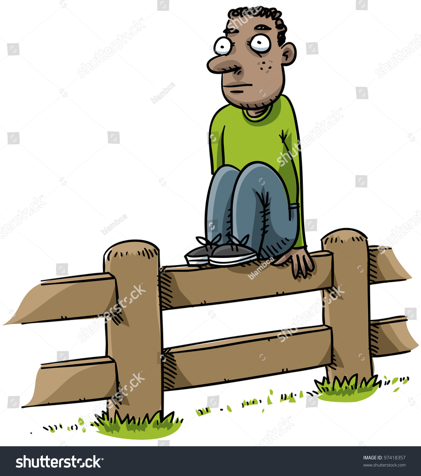 cartoon man sitting on fence stock illustration