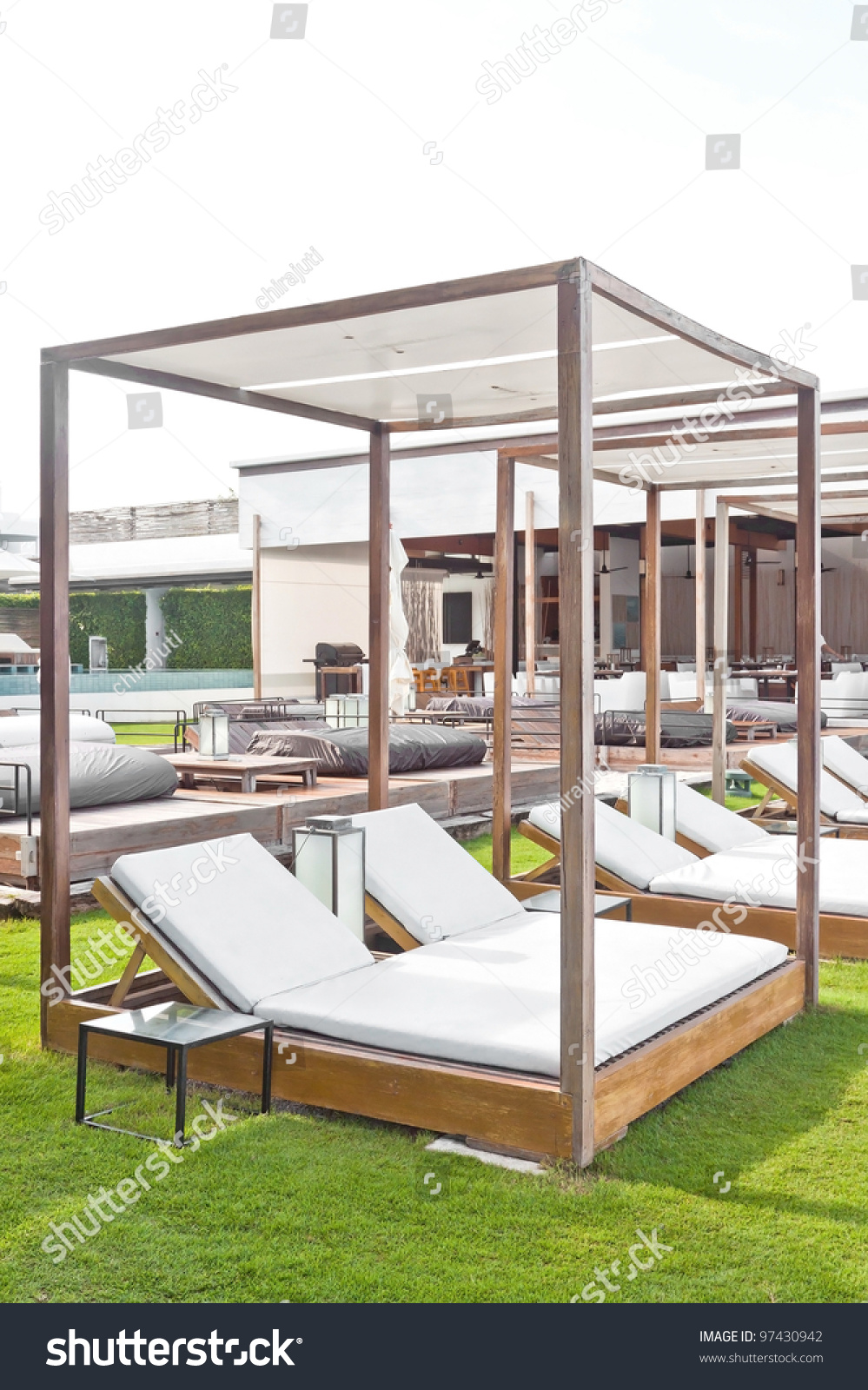 modern wooden beach pergola gazebo pavilion stock photo 97430942 shutterstock. Black Bedroom Furniture Sets. Home Design Ideas