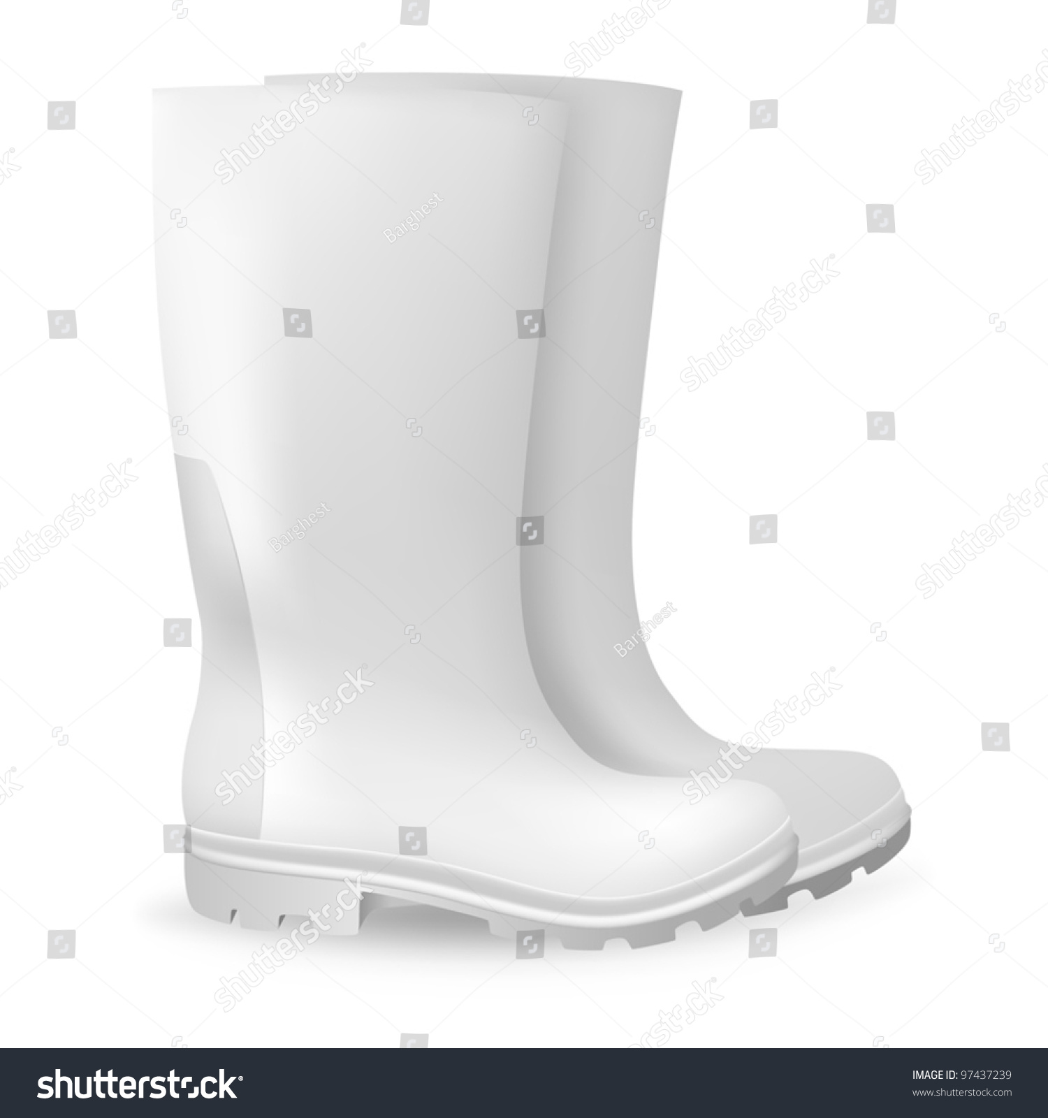 White Blank Safety Rubber Boots Template Stock Vector Royalty Free