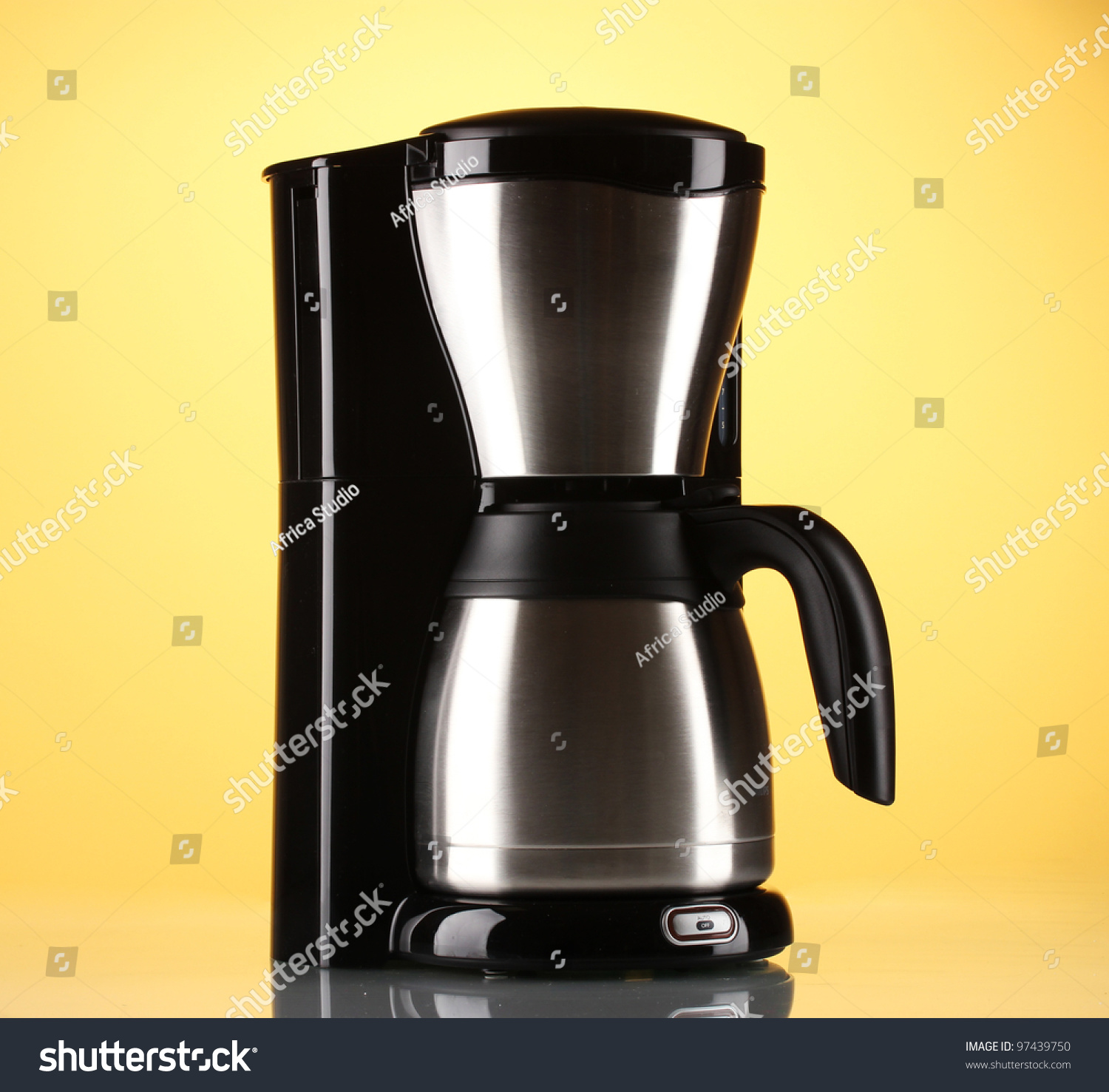 Coffee Maker On Yellow Background Stock Photo 97439750 - Shutterstock