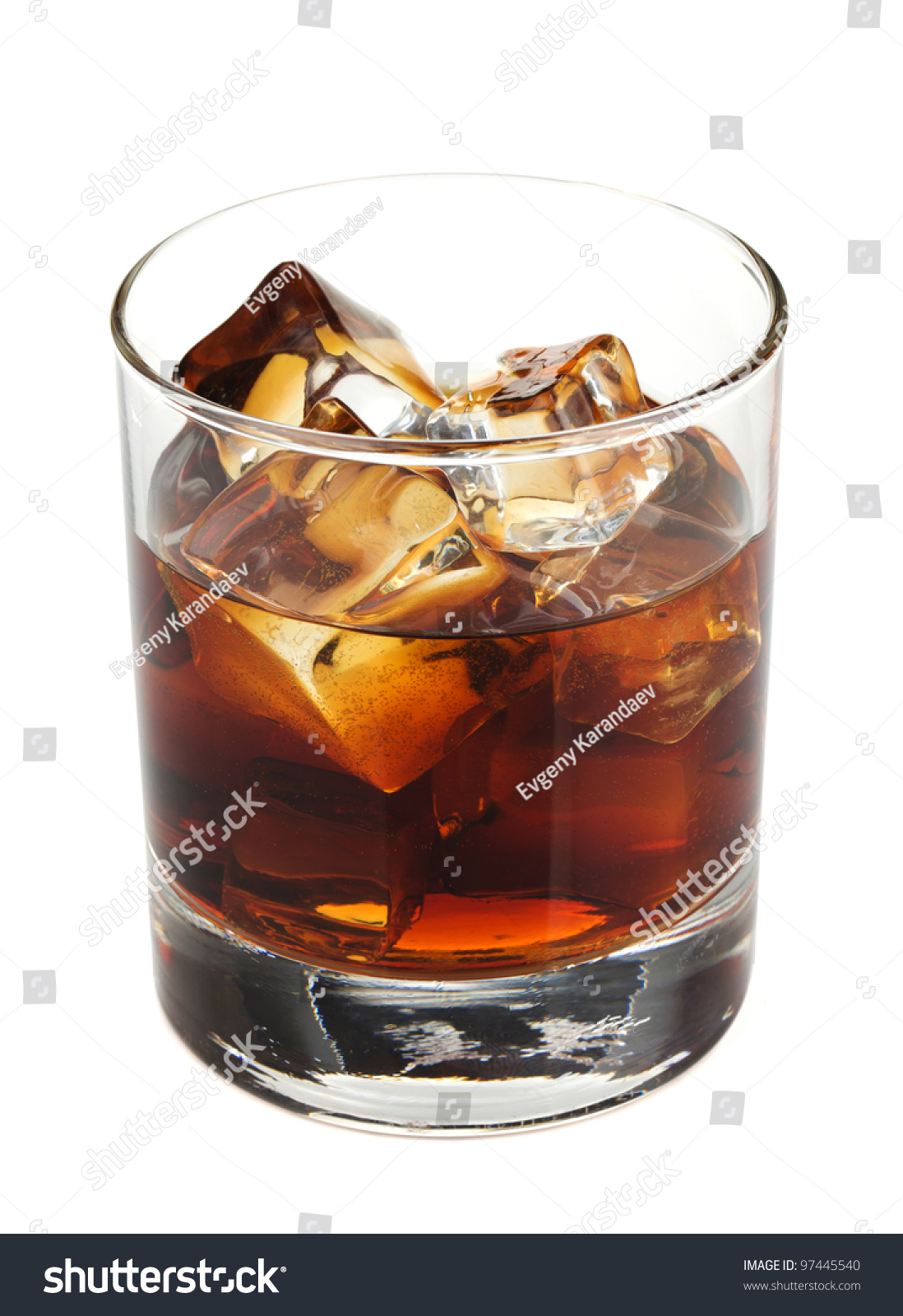 Whiskey Cola Cocktail. Isolated On White Background Stock Photo ...