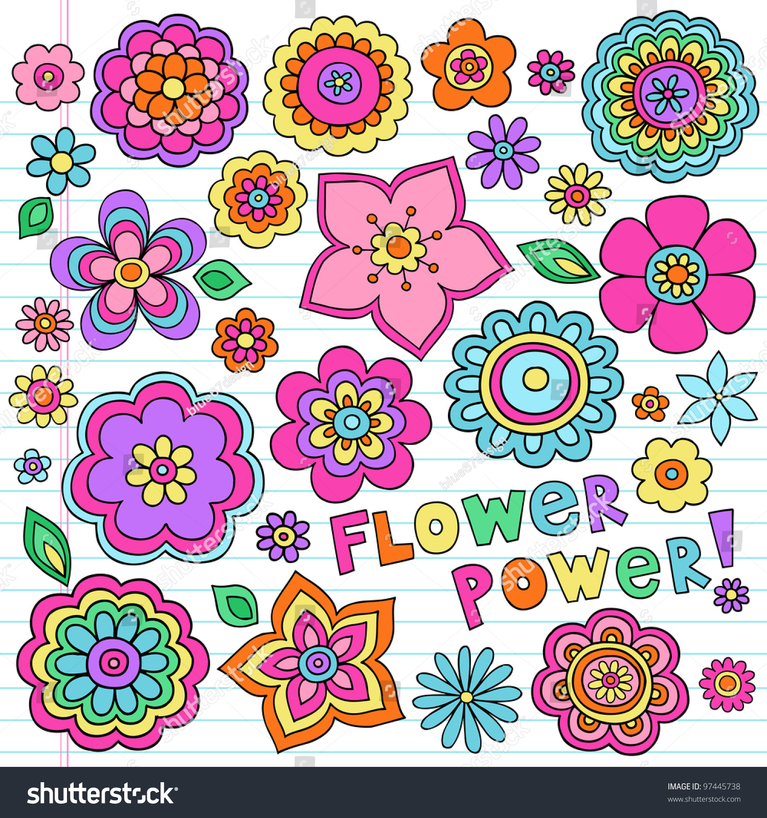 flower power flowers groovy psychedelic hand stock vector 97445738 shutterstock. Black Bedroom Furniture Sets. Home Design Ideas