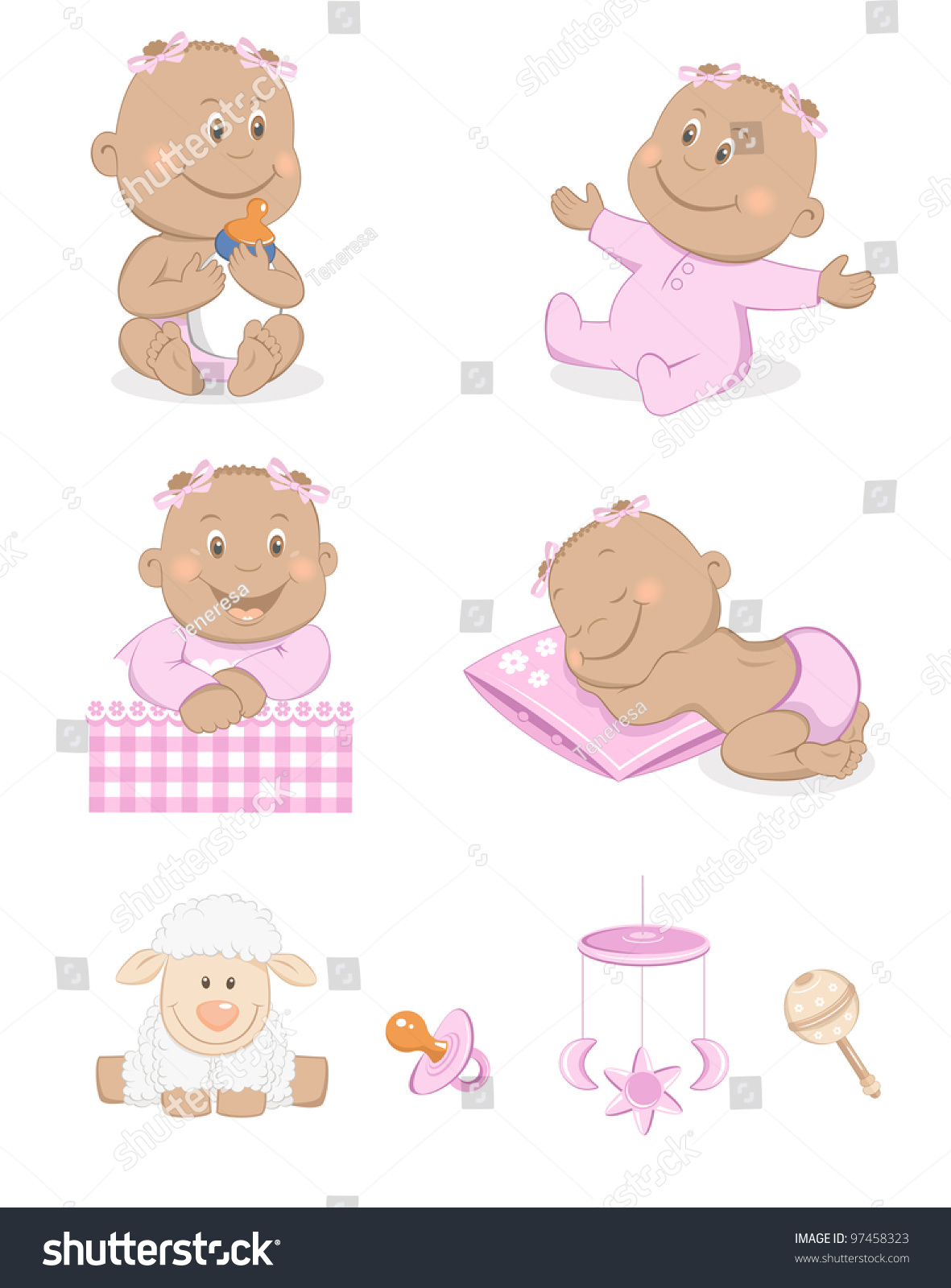 Girl Toys Color : Black baby girl toys accessories pink stock vector