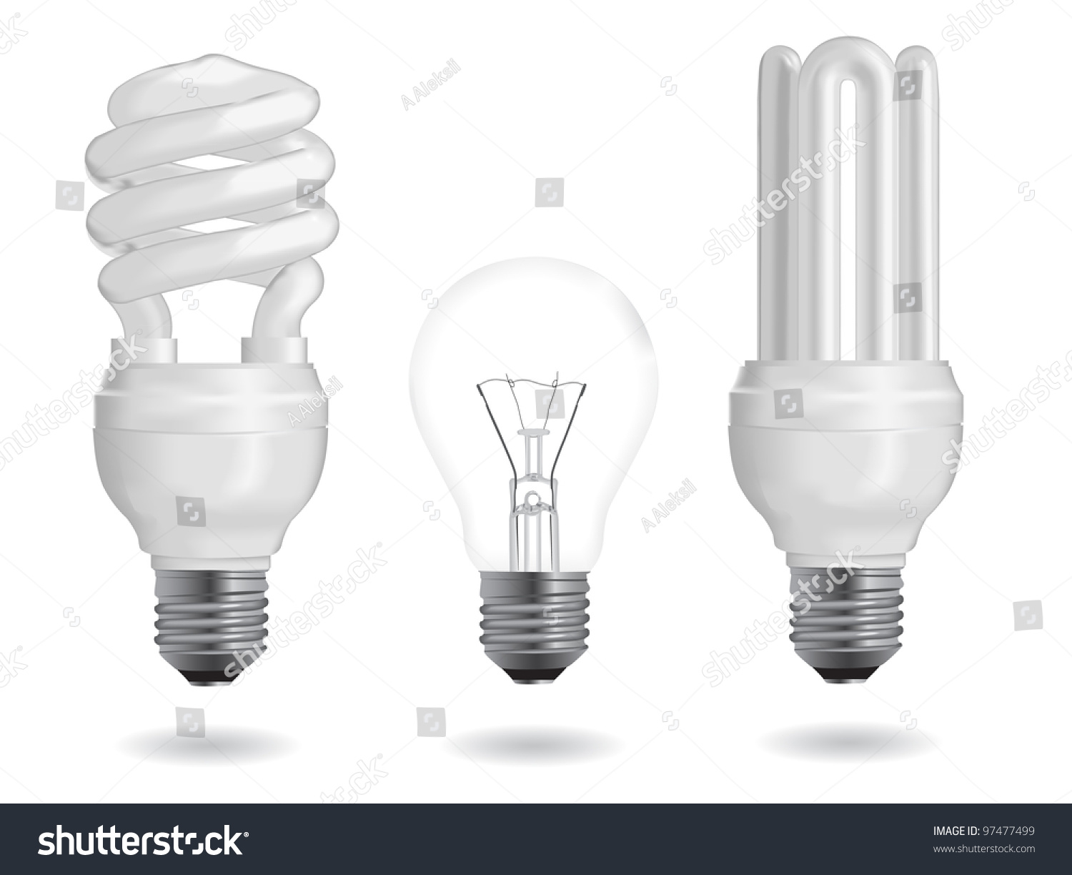 Incandescent And Fluorescent Energy Efficiency Light Bulbs Vector Illustration 97477499