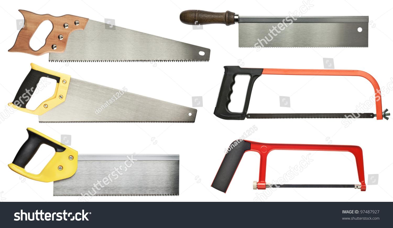 hand saw set wood metal cutting stock photo 97487927