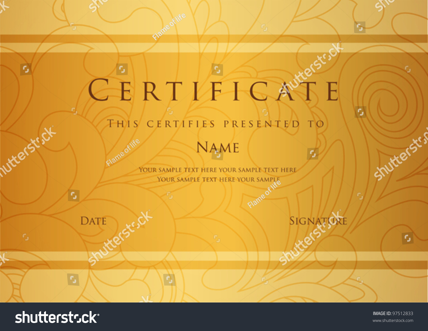 Certificate completion template vector stock vector 97512833 certificate of completion template vector yadclub Images