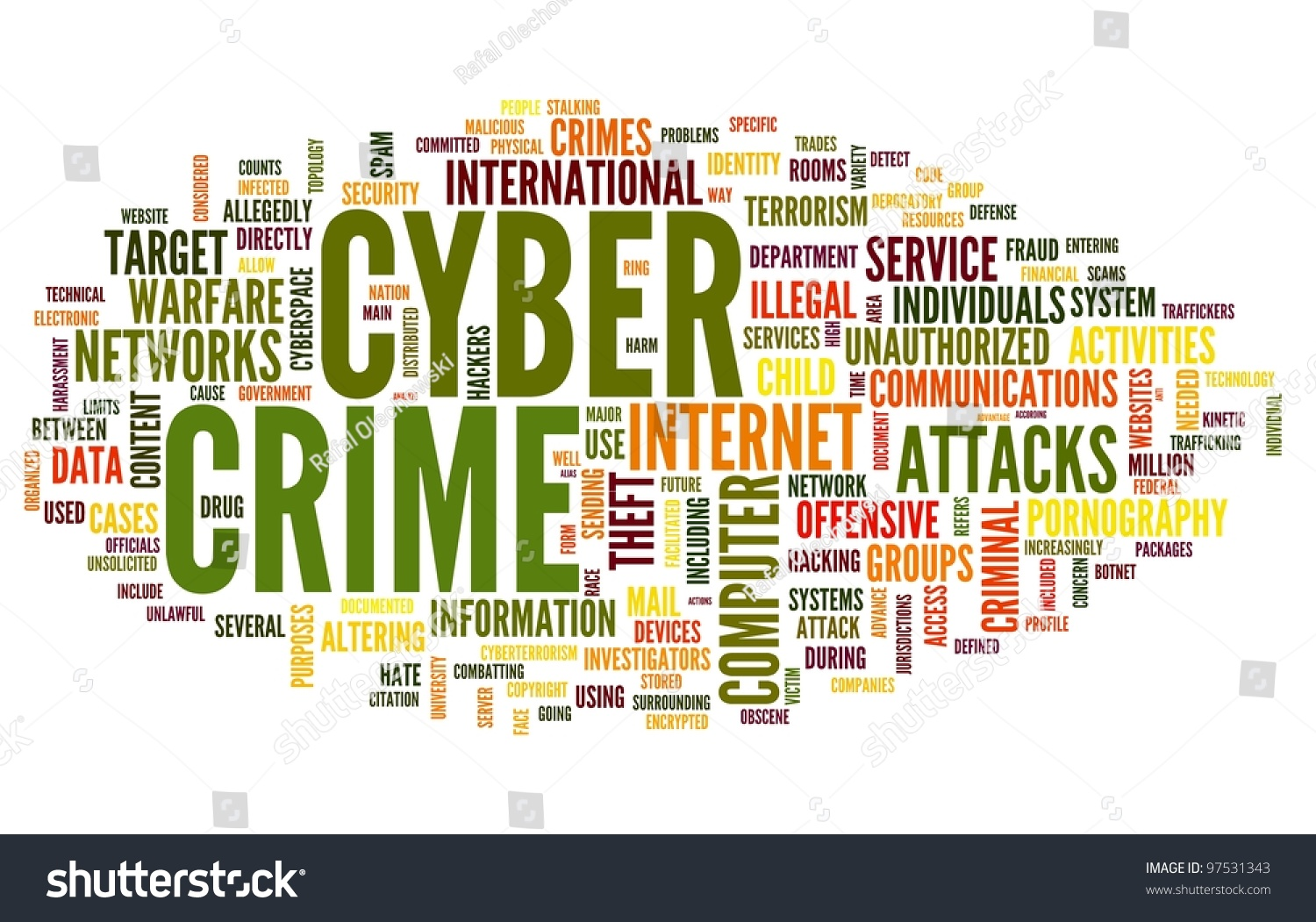 Cyber Crime Concept In Word Tag Cloud Isolated On White