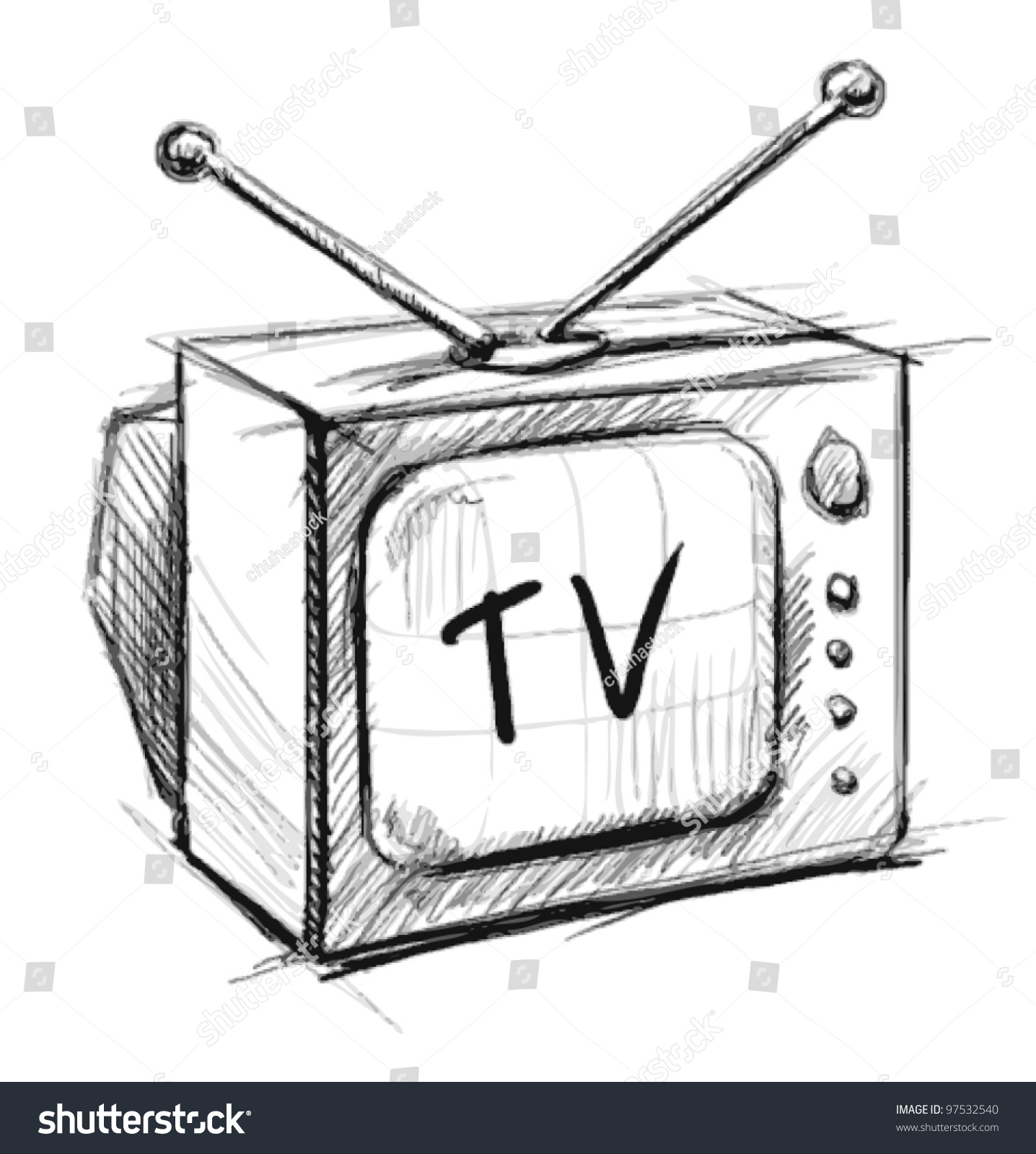tv drawing. retro tv with antenna hand drawing sketch vector illustration isolated on white background e