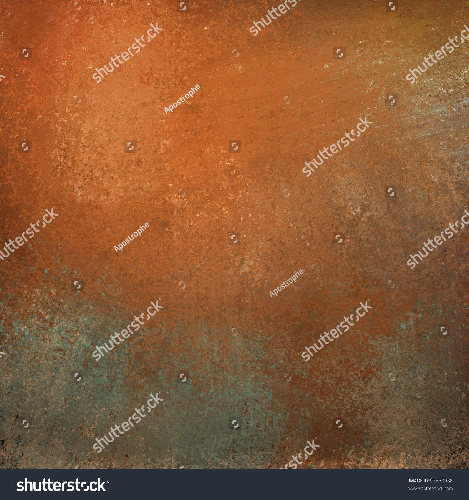 abstract burnt orange color splash background with graffiti grunge vintage texture and bright highlight on gray