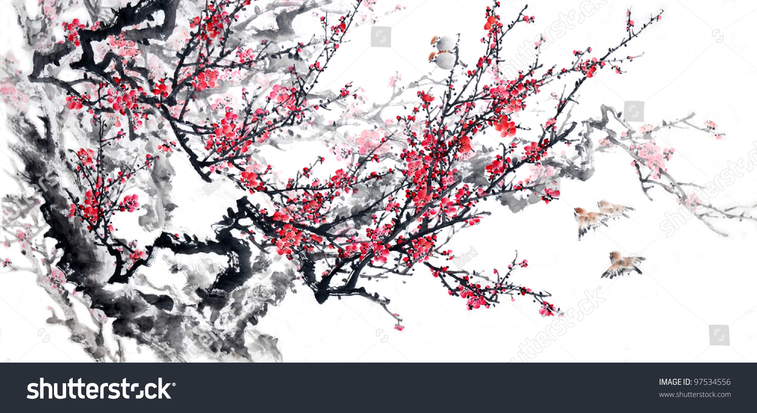 Plum Blossom On White Backgroundtraditional Chinese Stock