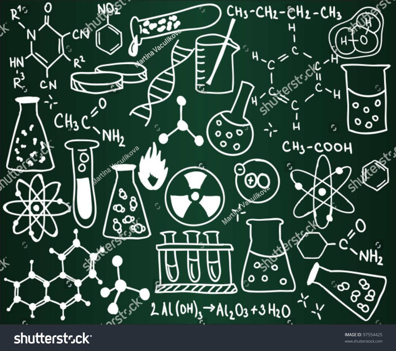 chemistry icons formulas on school board stock vector 97554425