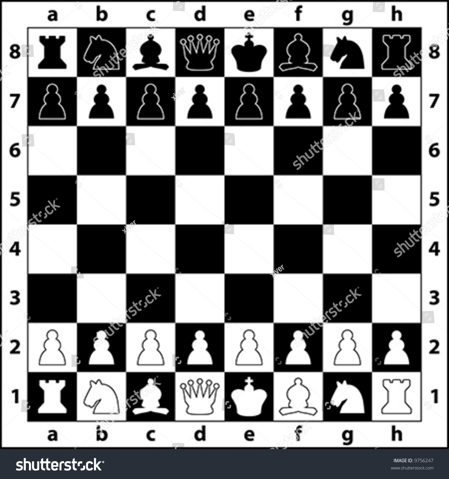 starting positions chess pieces on chess stock vector 9756247