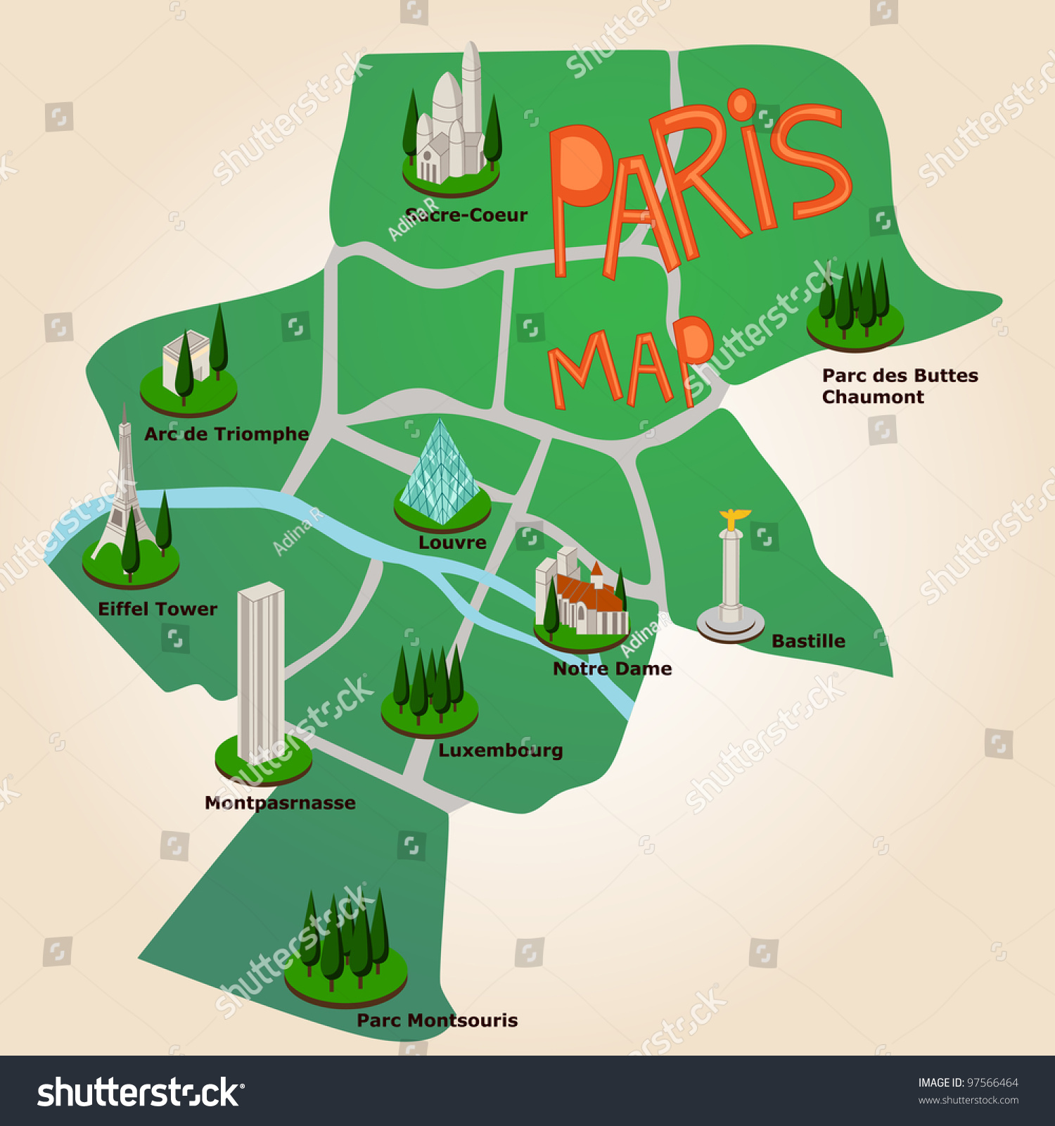 Paris Tourist Map Most Important Places Vector 97566464 – Map Of Paris Tourist Sites