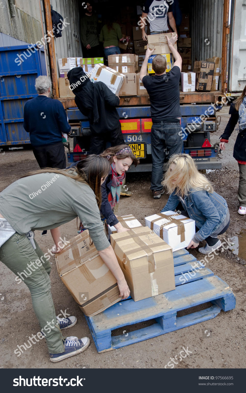 EXETER MARCH 9 Volunteers Book Cycle Loads Stock Photo (Edit