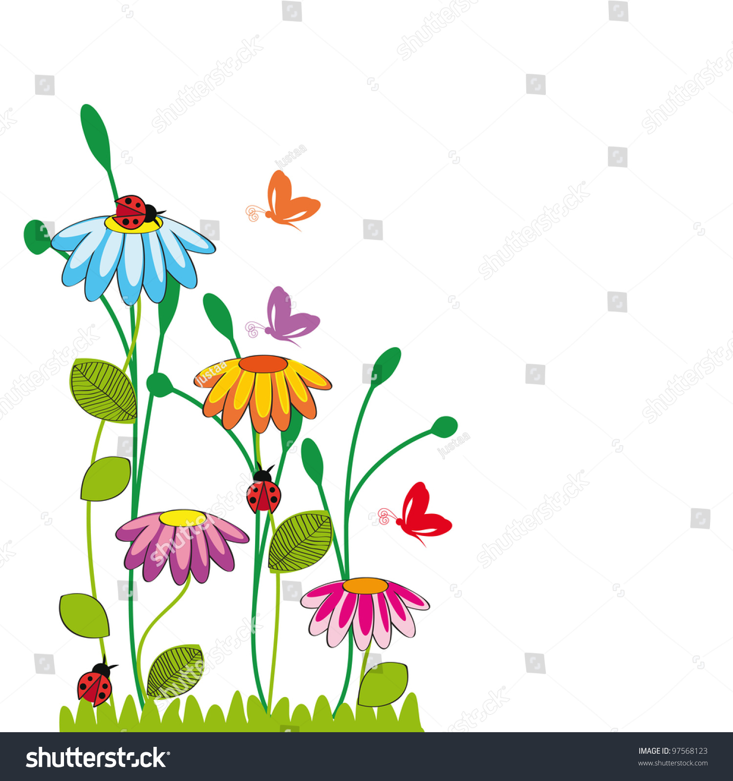 cute kids cartoon flowers butterfly stock vector 97568123
