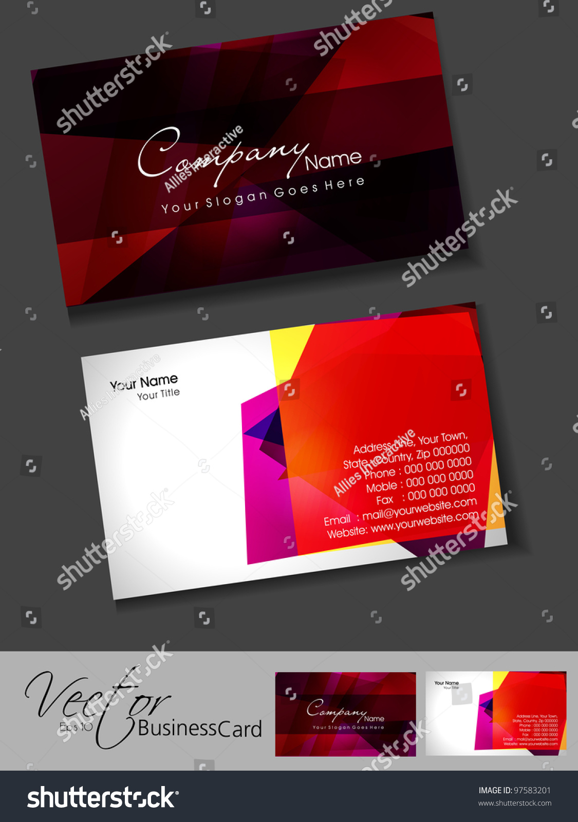 Professional business card template visiting card stock vector 2018 professional business card template or visiting card set artistic colorful abstract corporate look wajeb Images