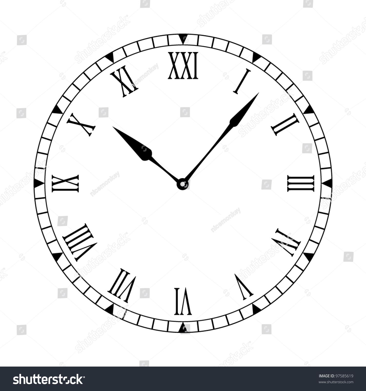 Black White Clock Face Easy Read Stock Vector 97585619